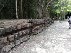 武田尾ハイキングコースの枕木